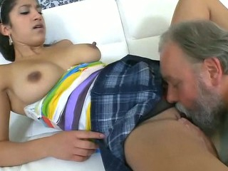 Chick is getting her twat ravished by teacher on the couch