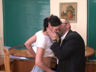 Virginal darling is tempted by an old and horny teacher