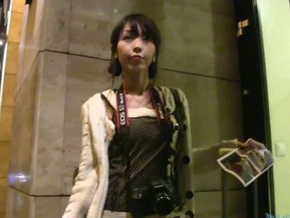 I saw this cute petite Japanese lady tring to get access to an apratment bloke.  I said her that..