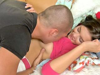 Amazing amateur brunette teen getting throat screwed hard