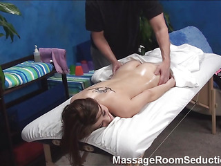 Stylish sporty male masseur gives great intimate massage to pretty dark brown chick making her..