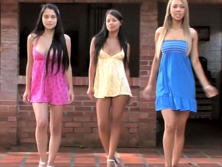 Three nice perfect lesbian teenies toying themselves outdoor