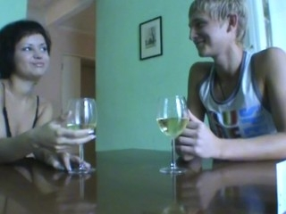 Horny dark brown gets enticed by her guy and bonks on the table