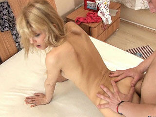 Cute blonde sweetheart with nice fat butt getting anal gaped hard
