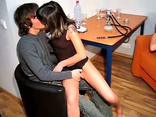 Two guys ang two gorgeous cuties have a hot groupsex scene