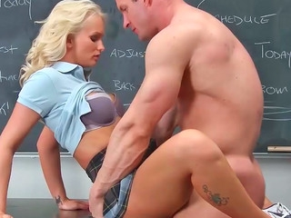 Emily Austin giving fellatio and getting rammed on teacher's desk