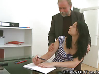 Lengthy haired dark brown student isn't sure about her teacher's advances.  That Babe pretty soon wil be however when that guy introduces her to his teaching aid!