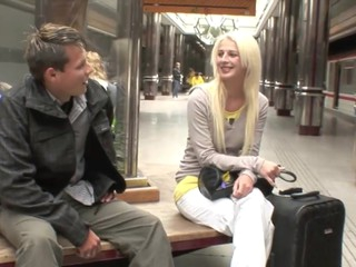 Hooking up with a sexy golden-haired teeny in the middle of a subway station this guy had no idea..
