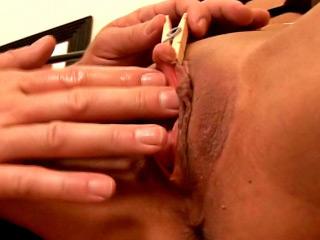 Enchanting busty blonde pornstar with mega clit gets gaped