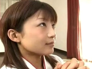 Horny Japanese legal age teenager in traditional kimono pleases her guests by giving a welcome..