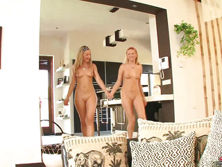 Nubile blond beauties Hotty Snow and Yasmine Gold are golden barbie dolls, and like to wear..