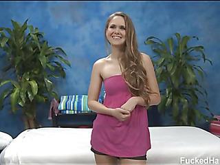 Sexy eighteen year old darksome brown slut gets fucked hard by her massage therapist!