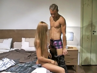 Long haired blonde babe strokes and sucks big white dick