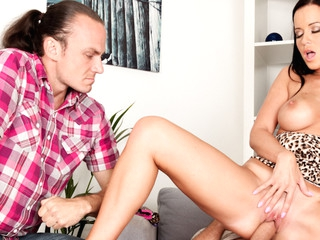 Cindy's cheating boyfriend watches as his ally copulates her.