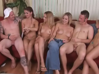 Four hot sexy angels having groupsex with one lucky man