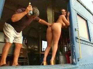 Sexy sweet ass brunette fucking and giving head near train