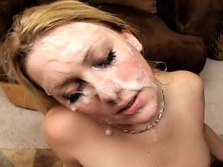 Thursty horny angel got dozen cumshots on her attractive face