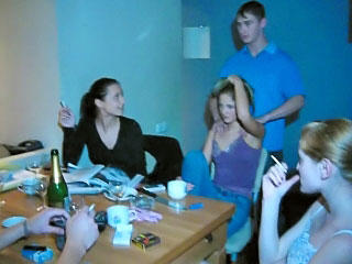 Three sexy russian amateur teens have a hot dirty groupsex