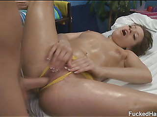 Hawt and hawt golden-haired 18 year old gets fucked hard from behind by her massage therapist