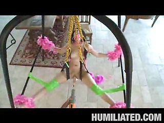 Madison had a blast getting fastened up with feather boas on a sex swing and having her mouth..
