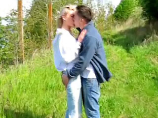 Big juggs blonde babe getting fucked by very big cock outdoors