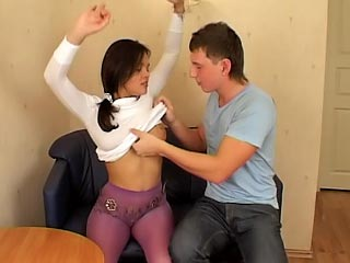 Marvelous brunette teen sucking and getting screwed hard