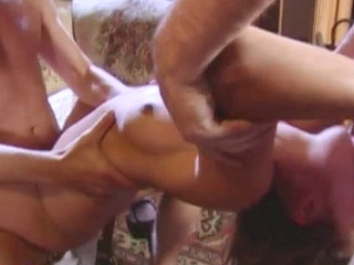 Athletic beauty drilled coarse in a sexy threesome