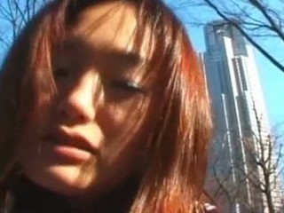 This cute Japanese Coed looks shy at first but it comes to show her sexy body, that babe is not afraid. This Babe starts to show her bare body in the street and then receives deeply fucked on the roof of his school. what a shlong whore!