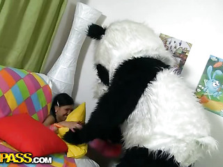 This cute teenage honey just wanted to clean her room, but suddenly a huge panda appeared. The cutie got scared at first, but the panda bear was so friendly and fluffy and cute, that babe even forgot all about cleaning and decided to use him as a large sex toy. And why not? The panda wanted the same, 'cause his enormous sex-toy strap on was ready for a real sex play. As pretty soon as the cutie saw that gigantic ding-dong ramrod, that babe went completely wild and insatiable. Want To know if this babe managed to take the entire shaft in?...